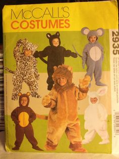 Amazon.com: McCall's Costume Pattern #2935 Child's Size 1/2 - 4 Bunny Bear Cat Lion Mouse: Arts, Crafts & Sewing