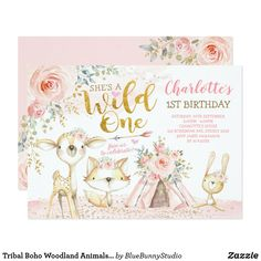 Shop Boho Woodland Forest Pink Gold Floral Baby Shower Invitation created by BlueBunnyStudio. Wild One Birthday Party, 1st Birthday Girls, First Birthday Parties, First Birthdays, Birthday Ideas, Bunny Birthday, Fall Birthday, September Birthday, Girl Parties