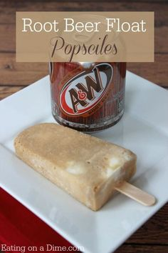 Beer Float Popsicles Root Beer Float Popsicles are so easy to make. They are frugal too!Root Beer Float Popsicles are so easy to make. They are frugal too! Köstliche Desserts, Frozen Desserts, Frozen Treats, Delicious Desserts, Dessert Recipes, Yummy Food, Plated Desserts, Root Beer Popsicles, Homemade Popsicles