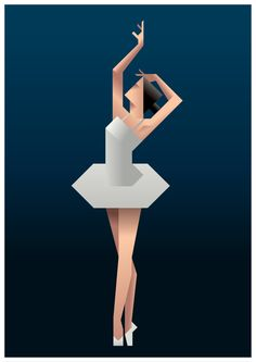 angled graphic drawing of a ballet dancer even shows details in gestures.