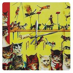 Victorian Cat Act Vintage Circus Poster Art Yellow Square Wall Clocks
