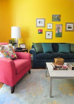 Living room interior design, blue yellow