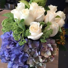 Roses and hydrangeas in a fish bowl designed by Twigs Florist at Varsity Lakes Corporate Flowers, Bowl Designs, Table Arrangements, Hydrangeas, Lakes, Colours, Fish, Instagram Posts, Desk Arrangements