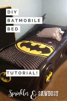 I'm starting off with one of my very favorite DIY projects – the Batmobile! What strapping young superhero fan wouldn't want a Batmobile bed of their own? Miles ate it up for a time, until he decided trains were way cooler than Batman, much to my consternation. I assume it's a phase and he'll come …