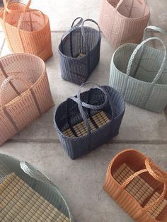 You can't visit Guatemala without noticing women toting around bags, hand woven from multi-colored, recycled plastic fibers, to and from work, the market . Architect and design consultant Cecilia Pirani has reimagined the ubiquitous tote i Basket Bag, Shoe Basket, Laundry Basket, Soft Autumn, Basket Weaving, Hand Weaving, Wicker, Rattan, Picnic