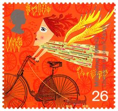 British Stamp 1999  -  Millenium Series Travellers' Tale racing through Holland! artwork by sara fanelli