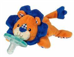 Wubbanub Infant Baby Pacifier Levi Lion Blue Orange Plush Toy Soothie Dummy NEW