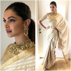 #Bollywood Style Inspiration: Ways To Wear Kerala Sarees For Onam Indian Attire, Indian Outfits, Indian Dresses, Indian Wear, Saree Draping Styles, Saree Styles, Deepika Padukone Saree, Shraddha Kapoor, Ranbir Kapoor