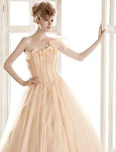 A-line One Shoulder Floor-length Organza Wedding Dress  Easebuy! Free Measurement!