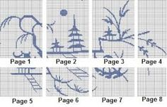 Image result for (miniature willow pattern needlepoint chart)