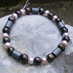 Bracelet with Haematite and Mocha and Pink Cultured Freshwater Pearls £13.75
