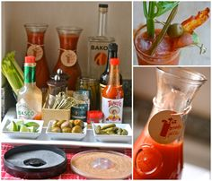 Bloody Mary Bar - put this next to the mimosa bar I previously pinned and you're all set for brunch!! {now I desperately want to host a brunch!}