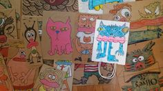 Hand drawn paper bag puppets by outsider artist Dave Savage #OutsiderArt