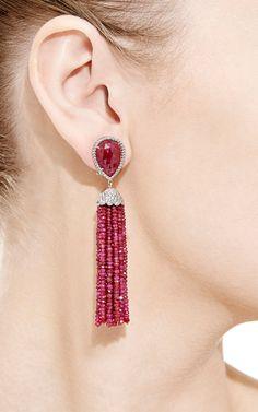 18K White Gold Ruby And Diamonds Dangle Earrings by Nina Runsdorf for Preorder on Moda Operandi