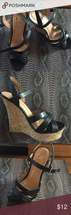 Black Wedges Black cork wedges. Gently used and in good condition. Size 6 and true to size Shoes Espadrilles