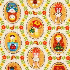 off-white oxford matryoshka fabric by Cosmo from Japan (per yard multiple)