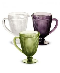Pressed Glass Pitcher by Rosanna in the tradition of old-fashioned Early American Pattern Glass from the late 20th century. One pitcher; 40 oz - comes in purple, clear or olive. Obaz.