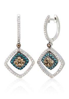 Monet Jewelry Monet Blue Crystal Silver-Tone Double-Drop Earrings 4CKGa