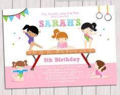 GYMNASTIC Birthday Invitation, Printable Gymnastics invitation, Gymnastic Invite, Gymnastic Party, Printable DIY PDF