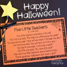 Free printable 5 Little Teachers Halloween poem for teachers Halloween Teacher Gifts, Halloween Math, Halloween Activities, Holidays Halloween, Halloween Poems For Kids, Halloween Treats For School, Fall Teacher Gifts, Halloween Ideas, Thanksgiving Teacher Gifts