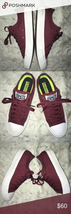 CONVERSE CHUCK TAYLOR II maroon/Boudreaux Removable insoles, few marks nothing major! Only wore a couple times Converse Shoes Sneakers
