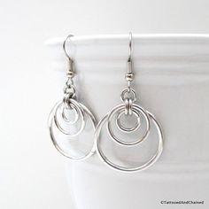 Triple hoop chainmaille earrings silver by TattooedAndChained