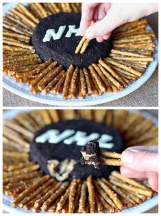 Peanut Butter Oreo Hockey Puck Dip - yum! We love this NHL themed snack.