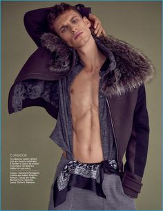 David Trulik rocks a fur lined Salvatore Ferragamo jacket with an Emporio Armani…