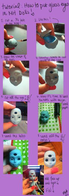 MH tutorial: how to put glass eyes on MH dolls by MangaHimeDollHeart
