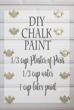 Chalk Paint (Lola's Room Makeover Begins!) How to Make DIY Chalk Paint (Lola's Room Makeover Begins! Diy Chalk Paint Recipe, Make Chalk Paint, Chalk Paint Projects, Paint Stain, Chalk Paint Furniture, Paint Finishes, Furniture Projects, Diy Furniture, Furniture Makeover