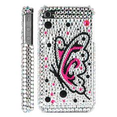 iPhone 4 / 4S Butterfly with Diamond Rhinestone Case - Silver