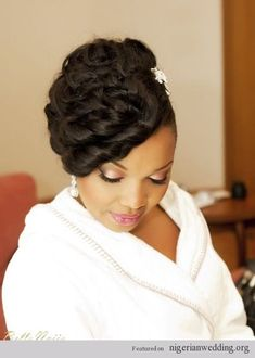 Love love love this brides hair and make-up. Unfortunately can't seem to find info on her make-up artist on BN, but it's all good. A beautiful bride + perfect hair and make-up is absolutely divine. The bride looks absolutely stunning... #africanhairstyles #africanweddinghairstyles #blackbridalhair