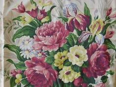 Vintage Barkcloth Era Silky Rayon Texured Cabbage Roses Bouquet Drapery Panel | eBay Vintageblessings