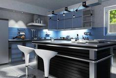 Cocina color azul  con negro de estilo modernista con acabados de aluminio.