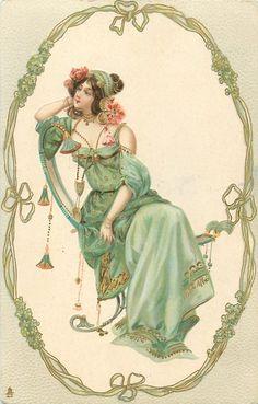 sitzende Frau in oval, nach vorne nach links schauend, vergoldet, grün Stilvergissmeinnicht -Rahmen