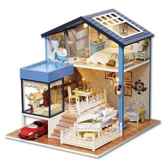 Toys & Hobbies Dolls & Stuffed Toys Intelligent K013 Big Villa Diy Wooden House Miniaturas With Furniture Dollhouse Miniature Toys For Children Christmas And Birthday Gift Non-Ironing