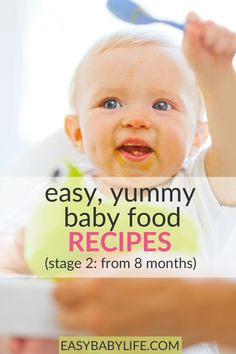 Easy, Yummy baby food recipes stage 2 - for the baby ready for new food adventures! Feed your baby solids with more variation, spices, and textures! Making baby food can be fun and quick. #babyfoodrecipes #babyfeeding #baby Homemade Baby Puffs, Homemade Baby Snacks, Feeding Baby Solids, Solids For Baby, Healthy Toddler Meals, Kids Meals, Toddler Food, Easy Meals, Teething Biscuits