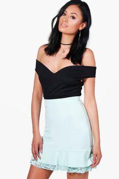 Evie Drop Hem Lace Trim Pastel Mini Skirt