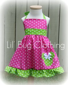 Custom Boutique Clothing Lime and Pink Dot  Minnie Mouse Halter Dress Disney Pink. $34.50, via Etsy.