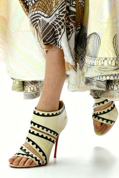 Christian Louboutin for Mary Katrantzou Open Toe Booties Spring 2013 #CL #Louboutins #Shoes