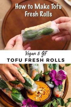 Healthy Spring Rolls, Vegetarian Spring Rolls, Fresh Spring Rolls, Tasty Vegetarian Recipes, Tofu Recipes, Wrap Recipes, Healthy Recipes, Dinner Recipes, Easy Spring Rolls