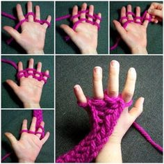 What Is Finger Knitting? Finger knitting is a type of knitting pattern. Diy Finger Knitting Scarf, Finger Crochet, How To Finger Knit, Finger Knitting Projects, Hand Knit Scarf, Diy Scarf, Yarn Projects, Crochet Projects, Crochet Crafts