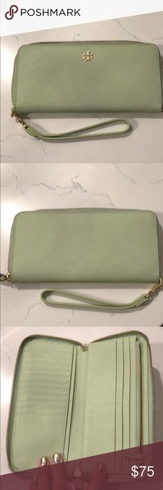 Tory Burch Mint Wallet and Wristlet Tory Burch mint wallet and wristlet! A cell phone will for inside as well. Lots of card space Tory Burch Bags Clutches & Wristlets