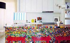 lego steine Küchenblock aus Legosteinen diy kreativ kücheninsel