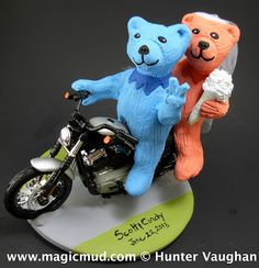 Grateful Bears on a Harley Wedding Cake Topper  ...Harley riding honey slurping outlaw biker bears!!!... you see in the summer season these bears may tend to congregate around a source of music that caters to their desires   so thay are truckin on down to Matrimonially Ever Afterland...$250#bears#grateful_dead#deadheads#jerry#wedding #cake #toppers  #custom #personalized #Groom #bride #anniversary #birthday#wedding_cake_toppers#cake_toppers#figurine#gift http://www.magicmud.com