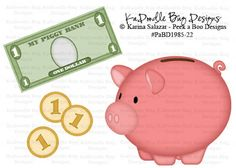My piggy bank Paper Piecing Pattern, Cutting File, Scrapbook, Silhouette Studio, SVG File, MTC, SCAL, Peek A Boo Designs