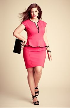 ABS by Allen Schwartz Leather Trim Peplum Dress (Plus Size)- Hey dress, don't be so damn expensive. :)
