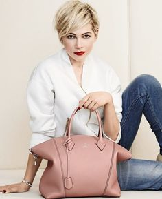 Michelle Williams for Louis Vuitton. Love the colour of the bag (and style). Clothing, Shoes & Jewelry : Women : Handbags & Wallets : Women's Handbags & Wallets hhttp://amzn.to/2lIKw3n