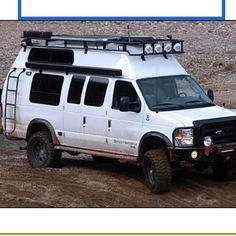 Sportsmobile with Aluminess Roof rack, Front bumper and ladder in view....