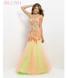 Tangerine & Lime Strapless Embroidered Long Prom Gown #uniquevintage #prom